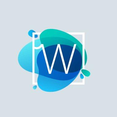 W letter logo in square frame at blue watercolor splash