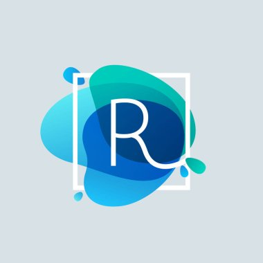 R letter logo in square frame at blue watercolor splash