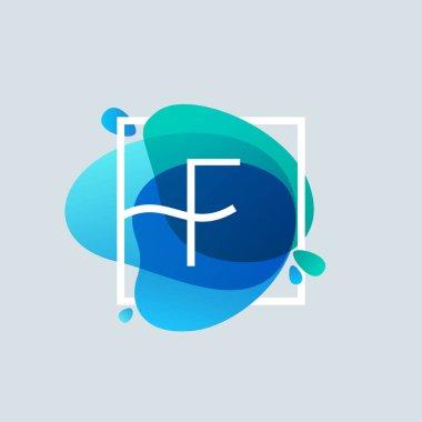 F letter logo in square frame at blue watercolor splash