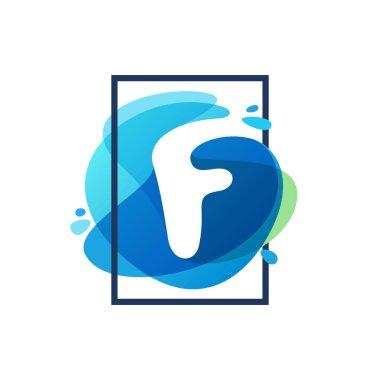 F letter logo in square frame at blue watercolor splash backgrou
