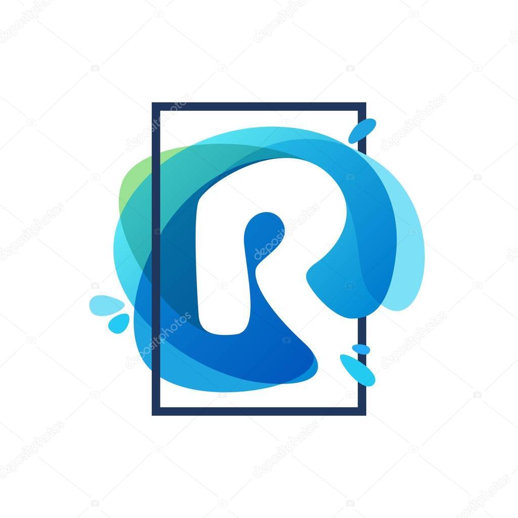 R letter logo in square frame at blue watercolor splash backgrou