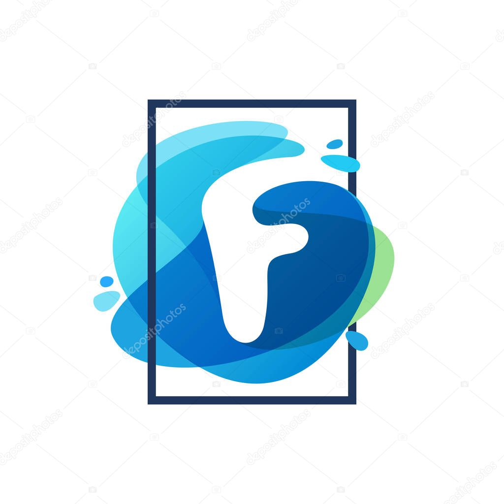 F letter logo in square frame at blue watercolor splash backgrou