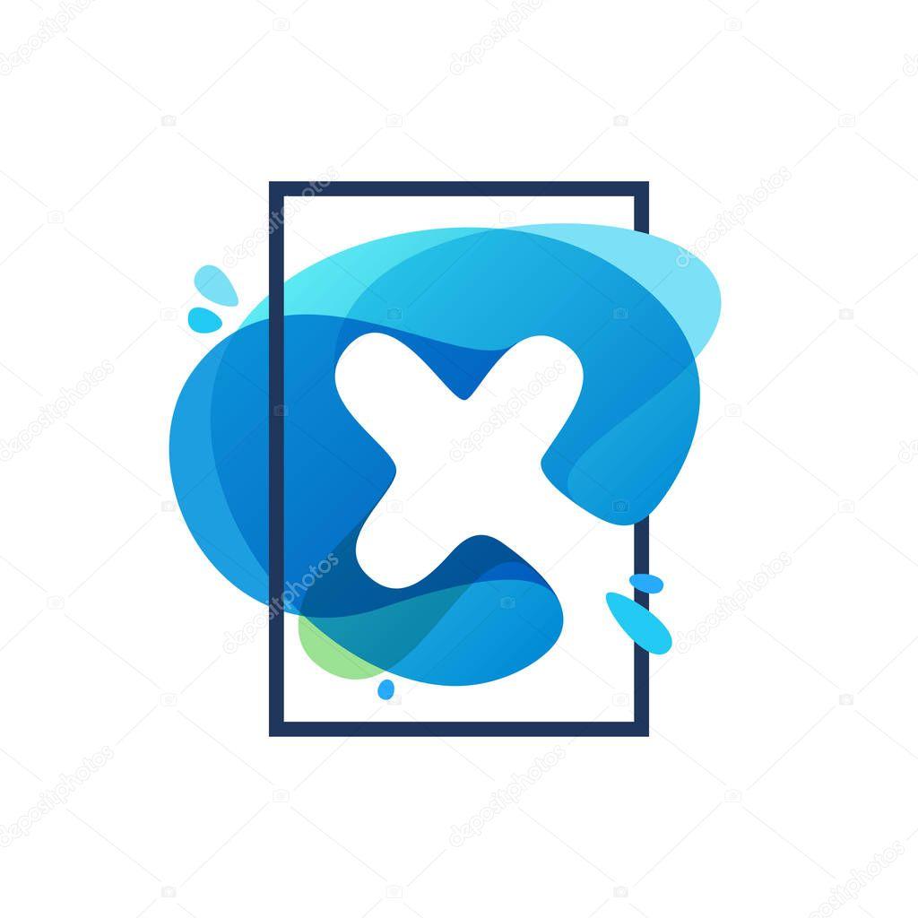X letter logo in square frame at blue watercolor splash backgrou