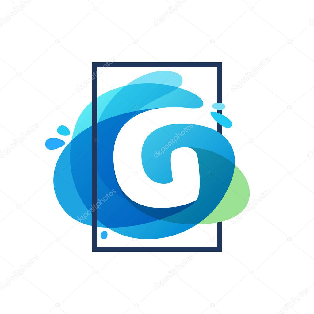 G letter logo in square frame at blue watercolor splash backgrou
