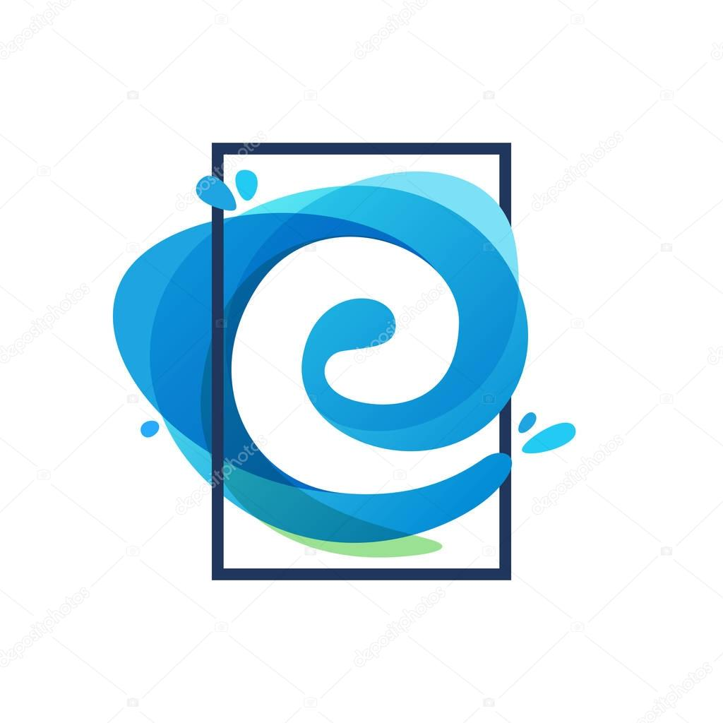 E letter logo in square frame at blue watercolor splash backgrou