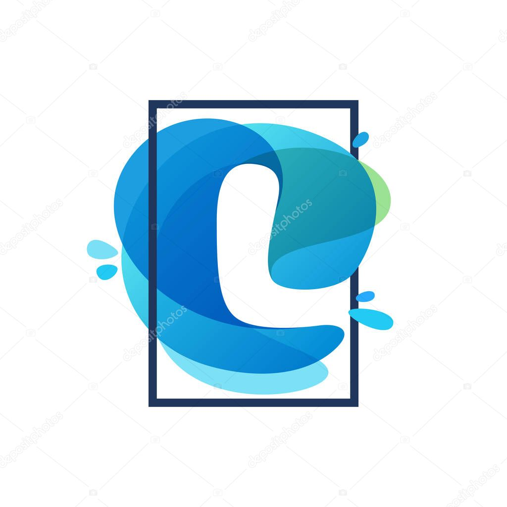 L letter logo in square frame at blue watercolor splash backgrou