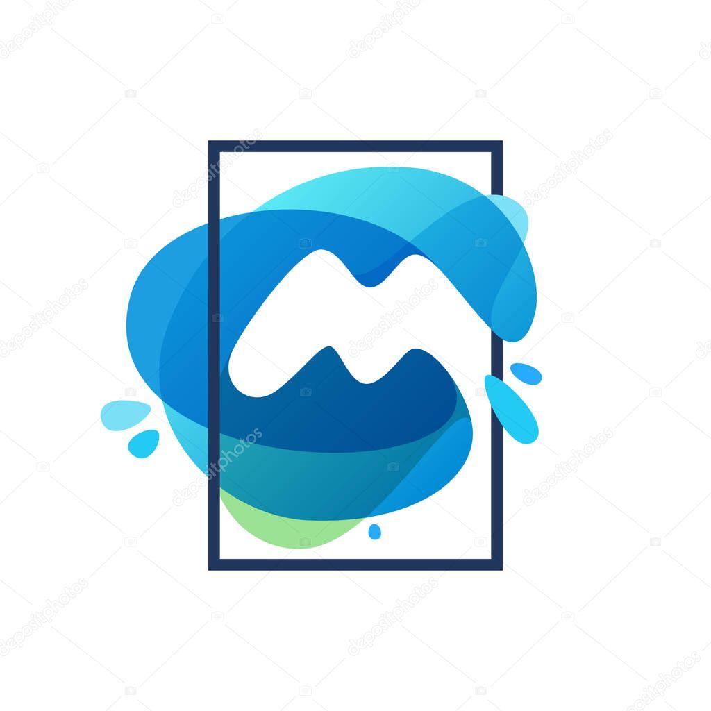 M letter logo in square frame at blue watercolor splash backgrou