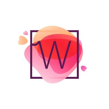 W letter logo in square frame at pink watercolor background.