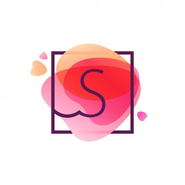S letter logo in square frame at pink watercolor background.