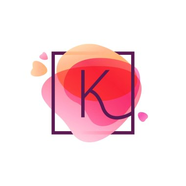 K letter logo in square frame at pink watercolor background.