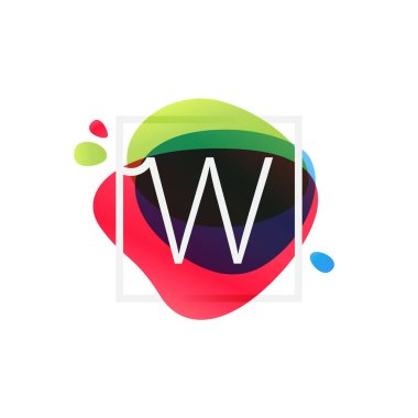 W letter logo in square frame at multicolor splash background.