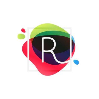 R letter logo in square frame at multicolor splash background.