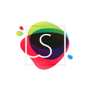 S letter logo in square frame at multicolor splash background.