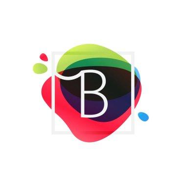 B letter logo in square frame at multicolor splash background.