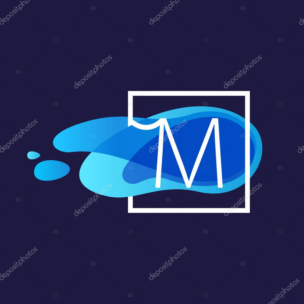 M letter logo in square frame at watercolor blue flow background