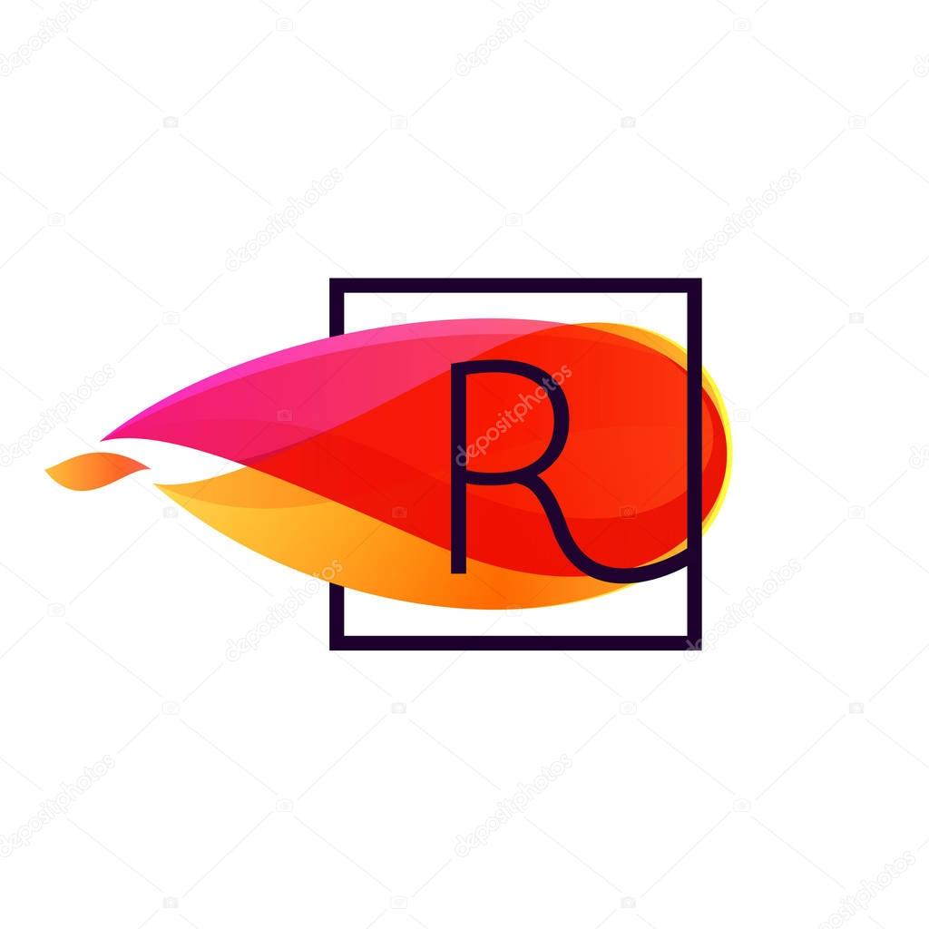 R letter logo in square frame at fire flame background.
