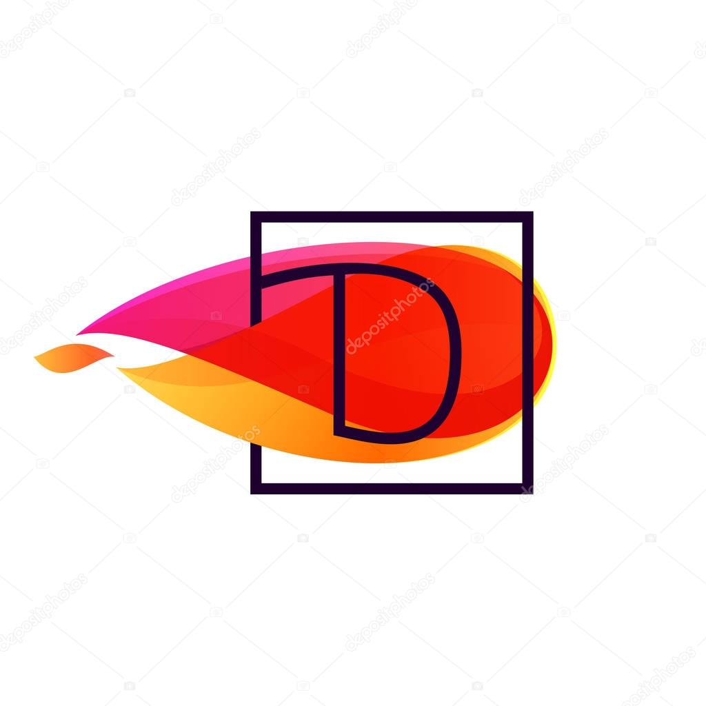 D letter logo in square frame at fire flame background.