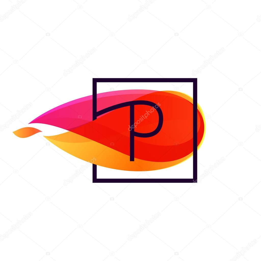 P letter logo in square frame at fire flame background.