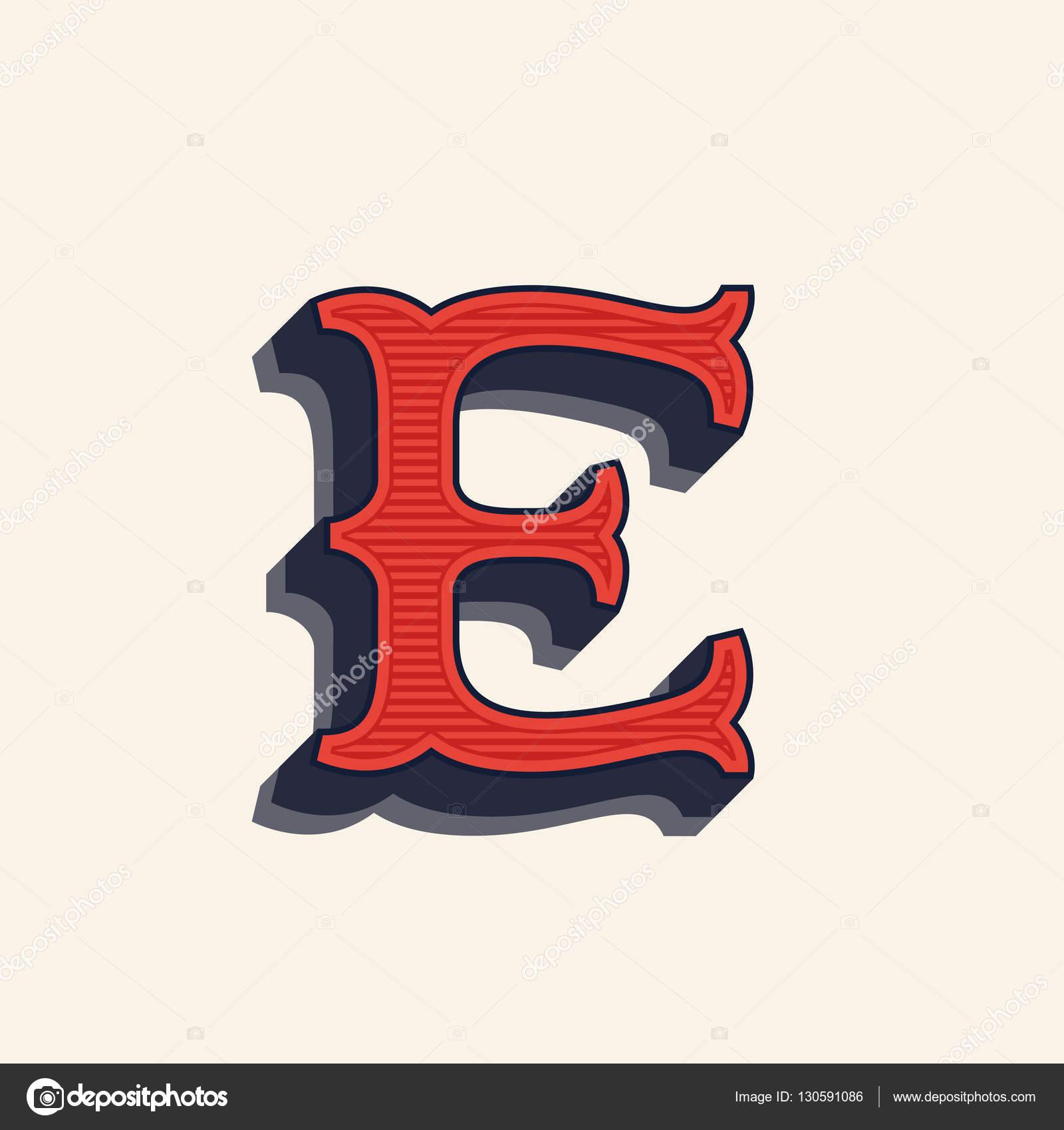 Logo De Lettre E Dans Le Style Occidental Vintage . Image