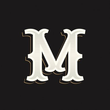 M letter logo with old serif on the dark background.