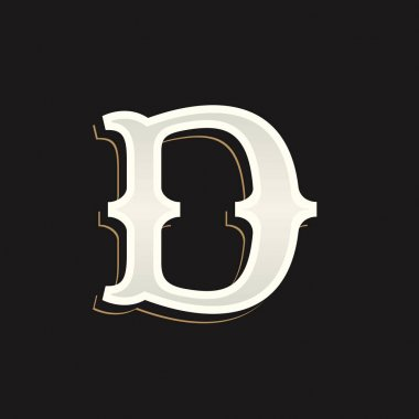 D letter logo with old serif on the dark background.