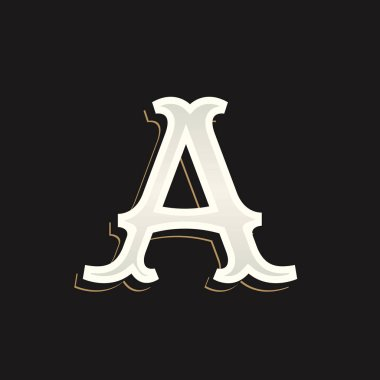 Letter A logo with old serif on the dark background.