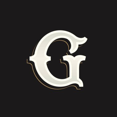 G letter logo with old serif on the dark background.