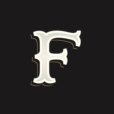 F letter logo with old serif on the dark background.