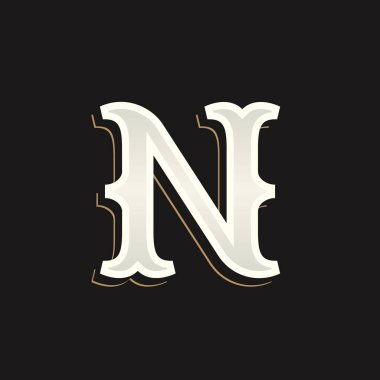 N letter logo with old serif on the dark background.