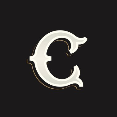 C letter logo with old serif on the dark background.
