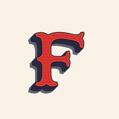 F letter logo in vintage western style.