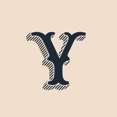 Y letter logo in vintage western style with lines shadows.