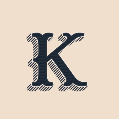 K letter logo in vintage western style with lines shadows.