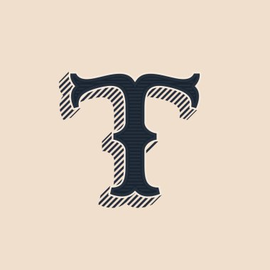 T letter logo in vintage western style with lines shadows.