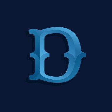 D letter logo in retro marine style.