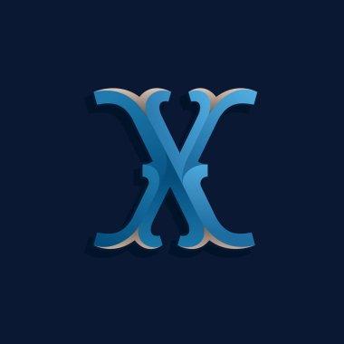 X letter logo in retro marine style.