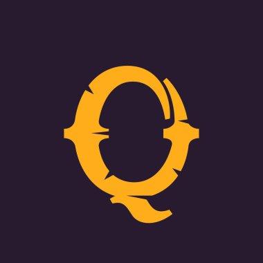 Q letter logo. Vintage serif type with rough edges.