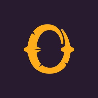 O letter logo. Vintage serif type with rough edges.