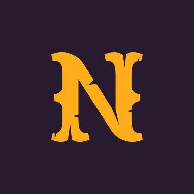 N letter logo. Vintage serif type with rough edges.