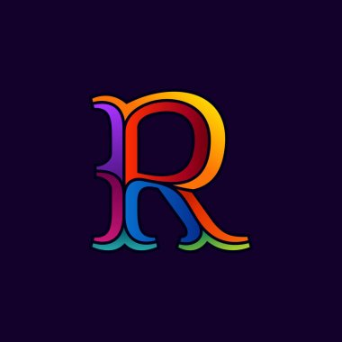 R letter logo in elegant multicolor faceted style.