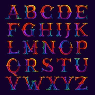 Alphabet logos in elegant multicolor faceted style.