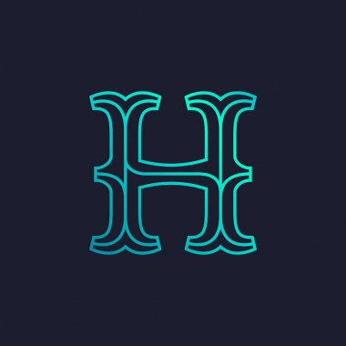 H letter logo. Mono line Slab serif retro type.