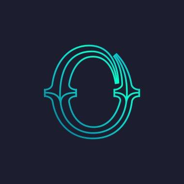 O letter logo. Mono line Slab serif retro type.