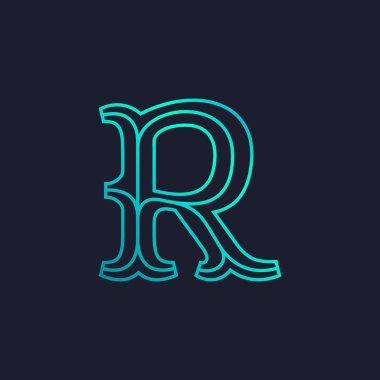 R letter logo. Mono line Slab serif retro type.