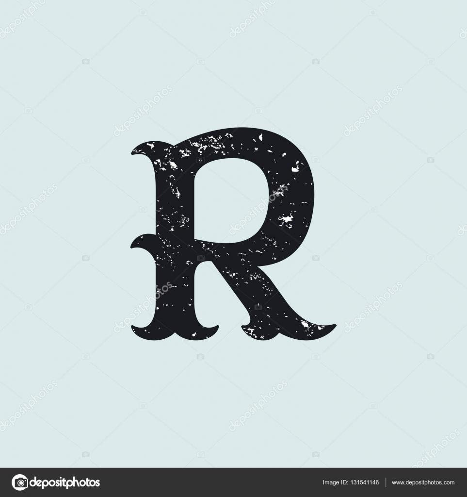 bb0a34a5e Logotipo da letra R. Tipo de serif laje vintage com textura grunge — Vetores  de