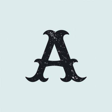 Letter A logo. Vintage slab serif type with grunge texture.