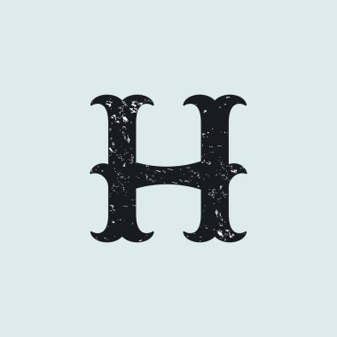 H letter logo. Vintage slab serif type with grunge texture.
