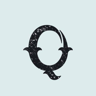 Q letter logo. Vintage slab serif type with grunge texture.