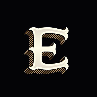 E letter logo in vintage western style with lines shadow.