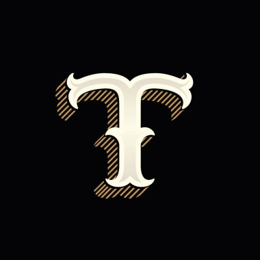 T letter logo in vintage western style with lines shadow.